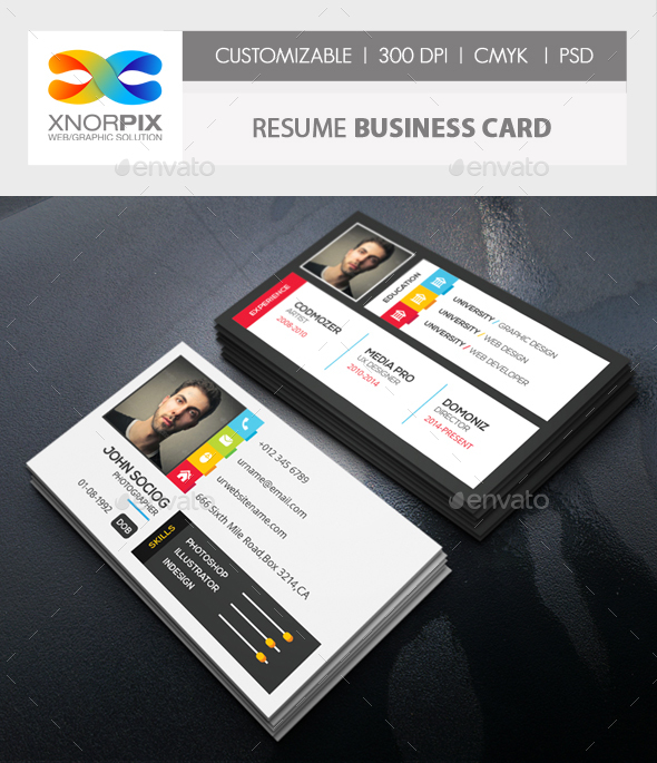 Resume Business Card by  axnorpix   GraphicRiver Resume Business Card