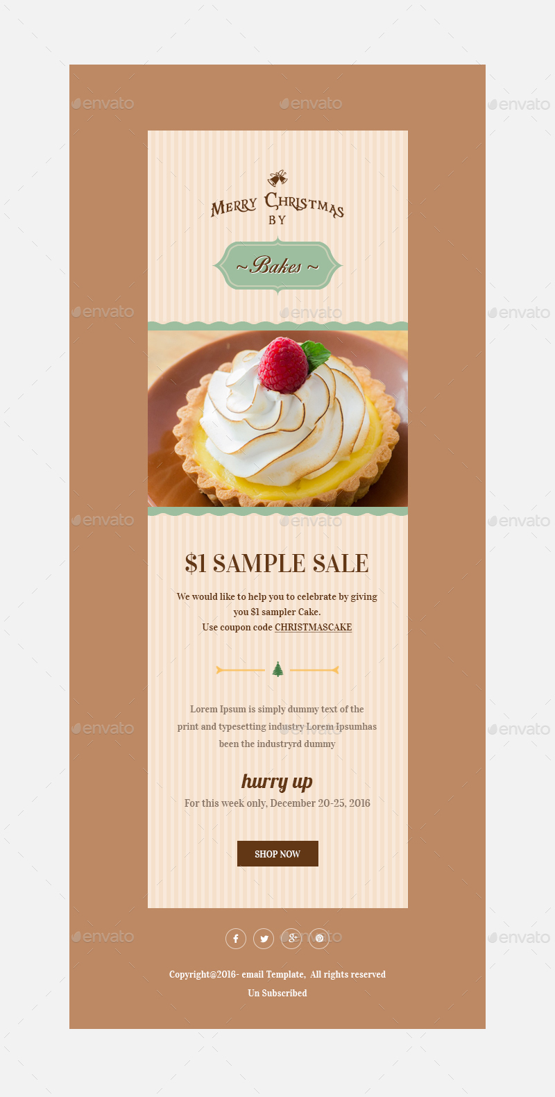 Christmas OffersGreetings Email Template PSD By