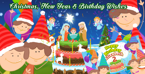 Christmas  New Year   Happy Birthday Wishes by masterdot   VideoHive Play preview video