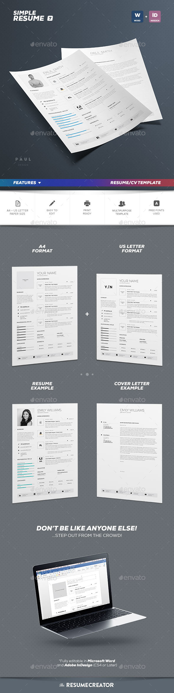 InDesign Resume Template Graphics  Designs   Templates