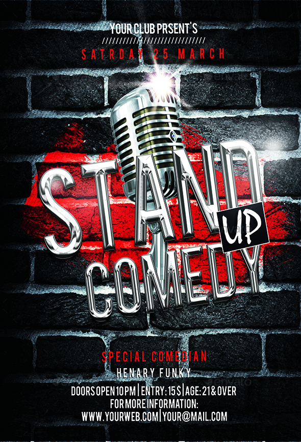 Stand Up Comedy Flyer By Luckyinspiron GraphicRiver