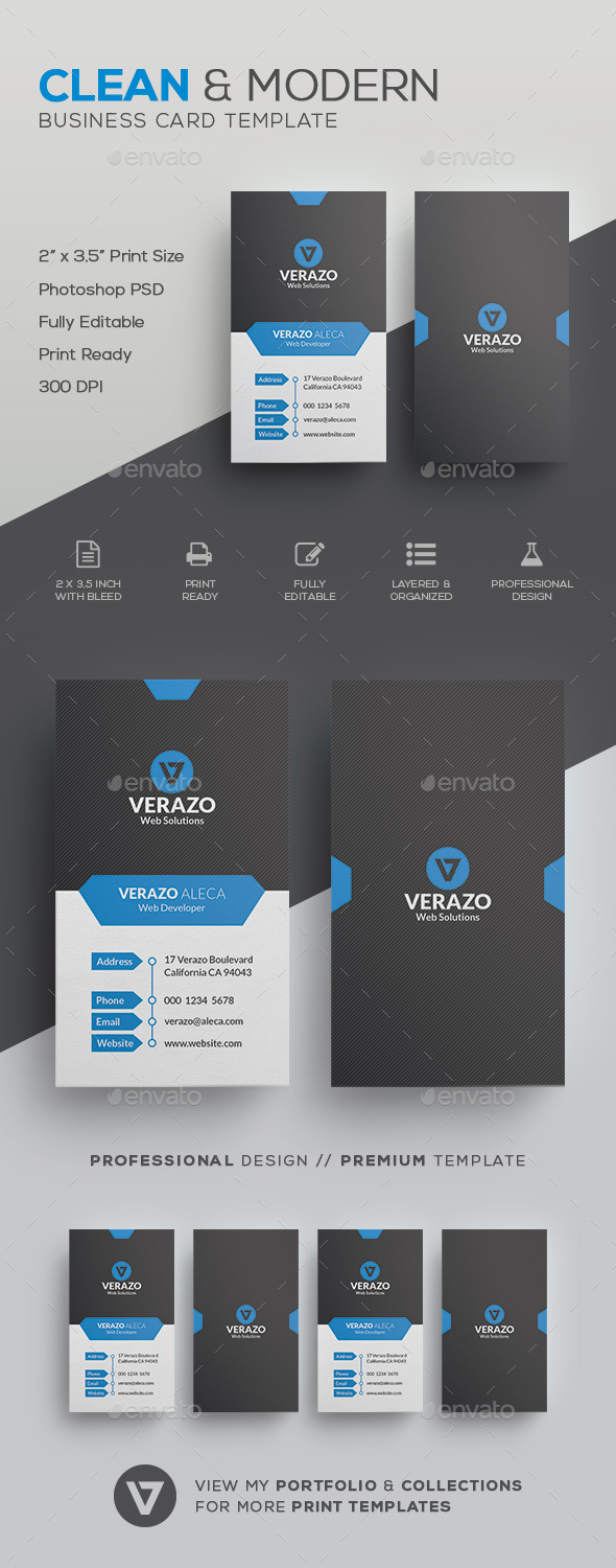 Clean Vertical Business Card Template by verazo   GraphicRiver Clean Vertical Business Card Template   Corporate Business Cards