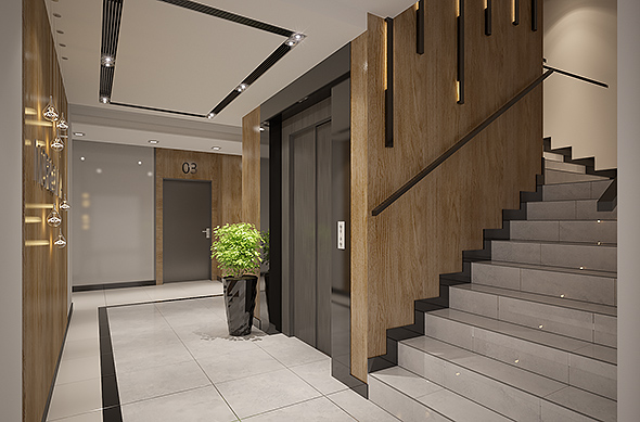 Apartments building Entrance Hall area Foyer Lobby with elevator     Apartments building Entrance Hall area Foyer Lobby with elevator interior  design   3DOcean Item for Sale