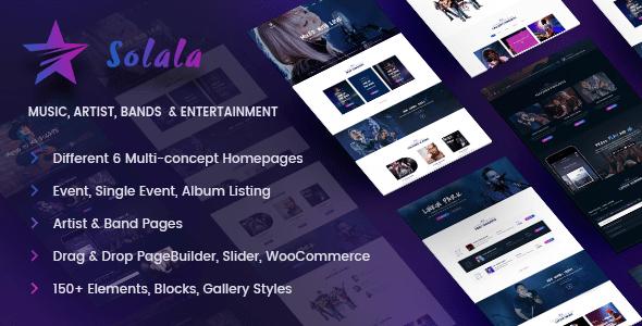 Music WordPress Theme   Music WP Solala (Music, Band, Artist, Concert, Audio, Fanclub)