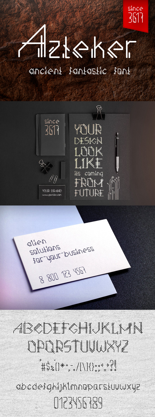 Free Font Azteker - Ancient Fantastic Font Download