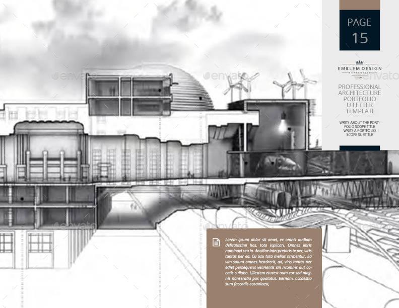 Professional Architecture Portfolio US Letter Template By Keboto GraphicRiver