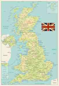 United Kingdom Physical Map Retro Colors By Cartarium Graphicriver