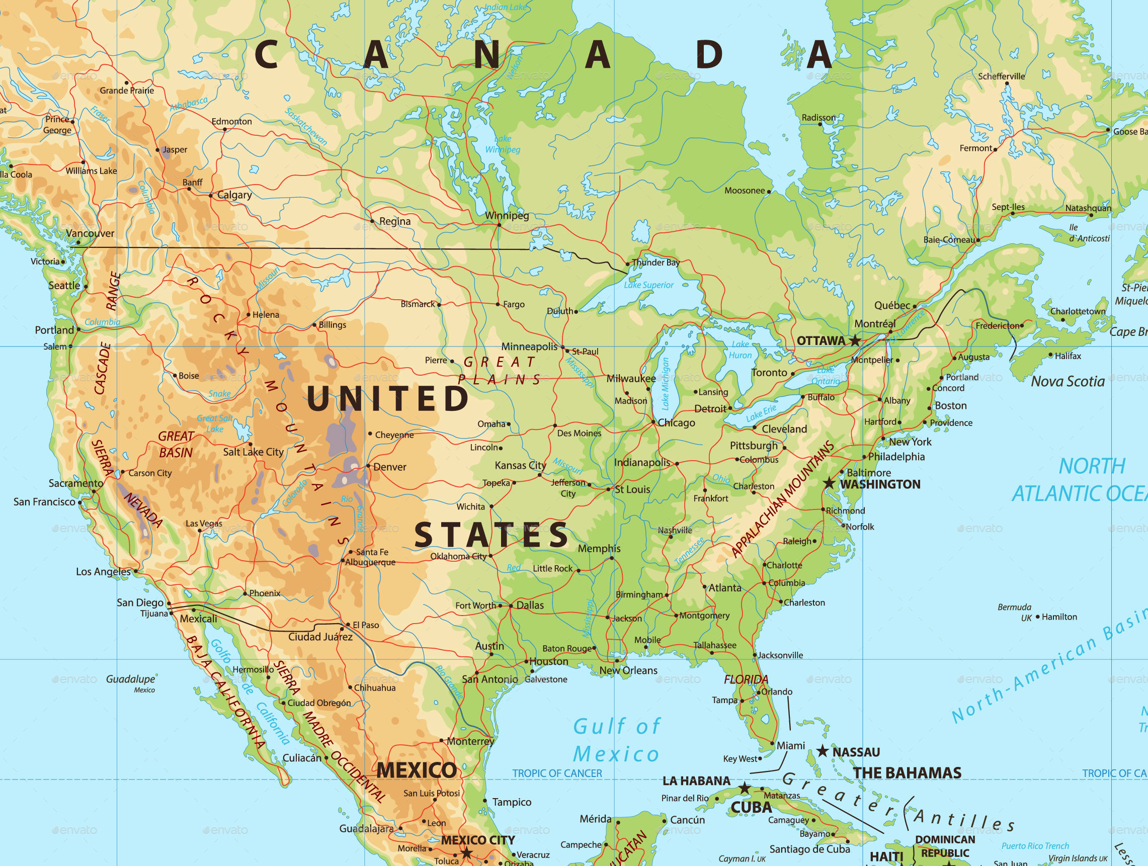 North America Physical Map By Cartarium