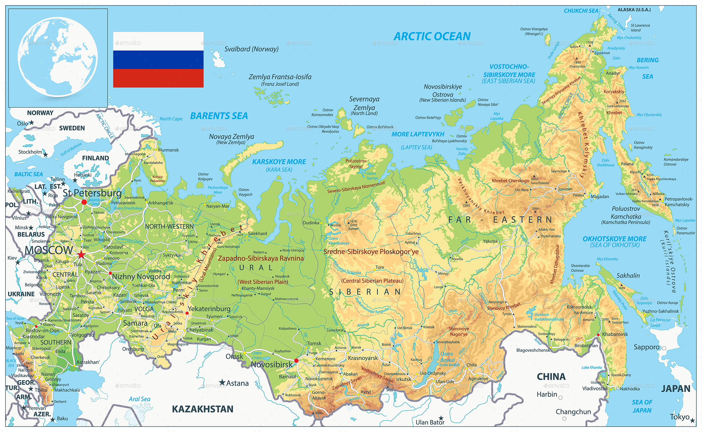 Russia Physical Map By Cartarium