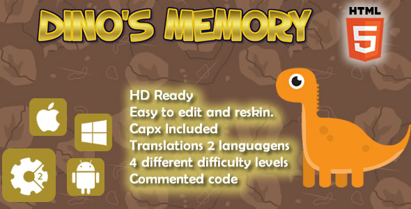 Dino's Memory - HTML5 Game (Capx) - CodeCanyon Item for Sale