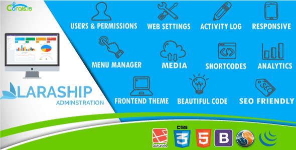 Laraship Content Management System and Website Administration with frontend theme