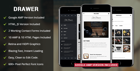 Drawer Mobile | Mobile & Google AMP Template