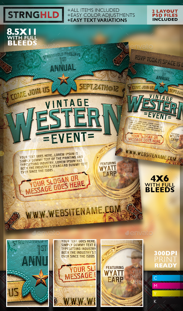 Vintage Western Event Flyer Template By Getstronghold