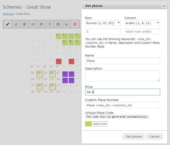Wordpress Admin Panel - Book a Place Pro scheme set up
