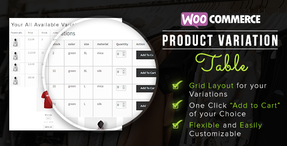 WooCommerce Product Variation Table