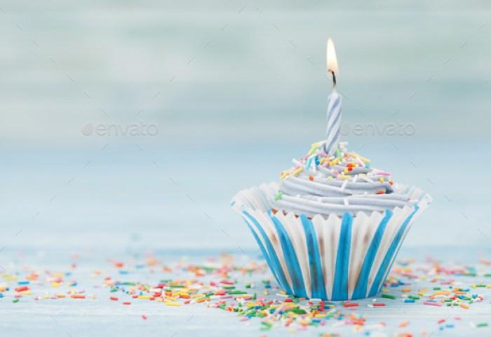 Sweet Cupcake With Candle Stock Photo By Karandaev Photodune