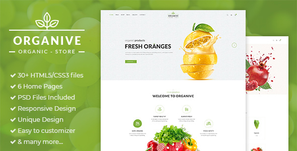 Organic is a clean HTML5 / CSS3 template responsive design E-Commerce and Blog Template suitable for organic food, organic store, Farm Eco Food Products. You can easily customize it to suit your needs.