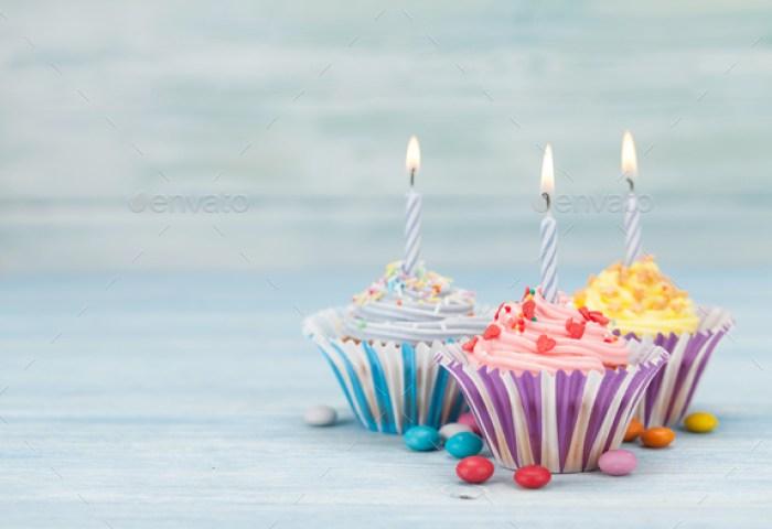 Sweet Cupcakes With Candles Stock Photo By Karandaev Photodune