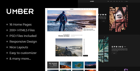 Umber Photography is a clean and creative HTML5 / C33 template suitable for Photography, Personal Portfolio website, etc. You can easily customize it to suit your needs.