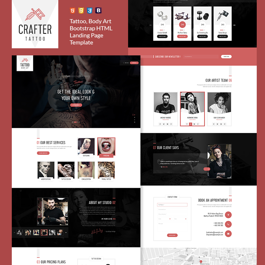 Crafter - Tattoo Bootstrap Landing Page Template - 1