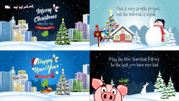 Merry Christmas And Happy New Year Resizable After Effects Template