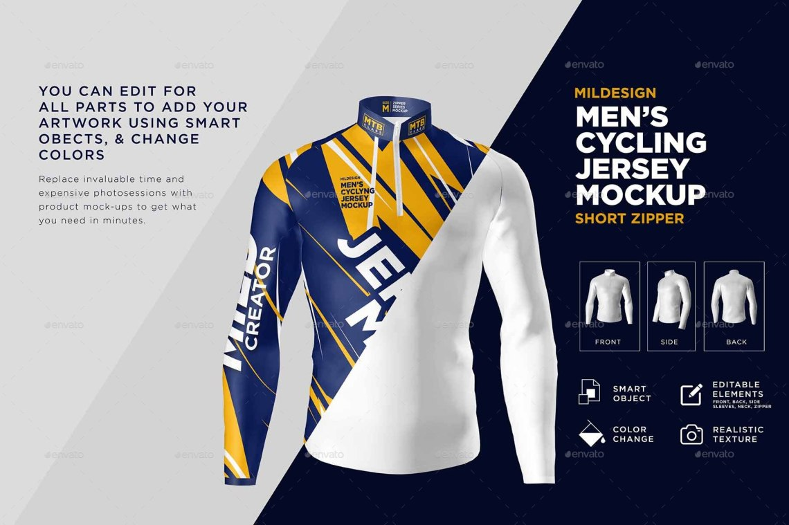 Download Mens Cycling Jersey Mockup by acehdesign | GraphicRiver