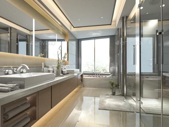 https photodune net item 3d rendering modern classic bathroom with luxury tile decor 26610423