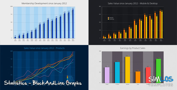 Statistics - Block and Line Graphs - videohive.net Item for Sale