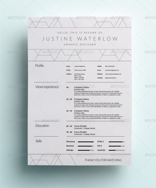 Clean And Simple Resume   CV by Dejmus   GraphicRiver 1 jpg