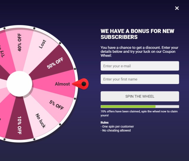 Coupon Wheel For WooCommerce and WordPress 5