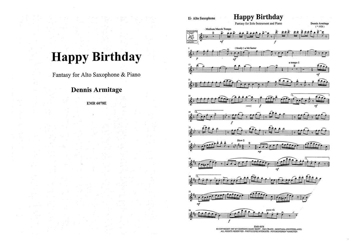 Happy Birthday Altsaxofon Und Klavier Orgel Noten Kaufen Im Blasmusik Shop