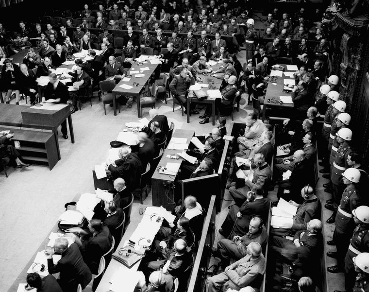 Загальний вигляд зали суду під час першого ранкового засідання в Нюрнберзі, 20 листопада 1945 року.