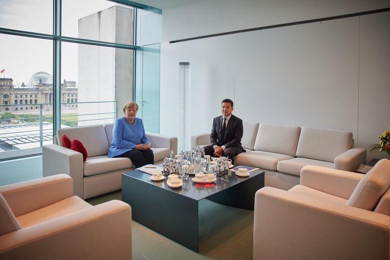 Зустріч президента України Володимира Зеленського і канцлера Німеччини Ангели Меркель під час візиту Зеленського до Німеччини, 11 липня 2021 року