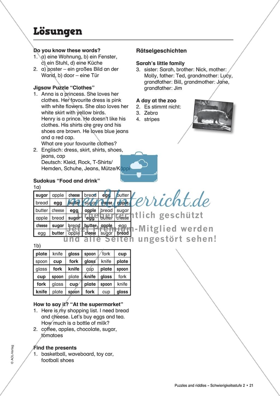 Jigsaw Puzzle Clothes Arbeitsmaterial Mit Losungen