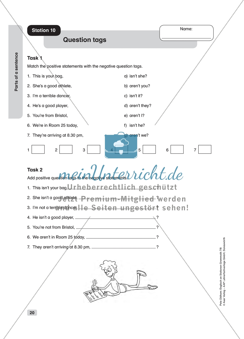 Grammar Question Tags Worksheet And Solution