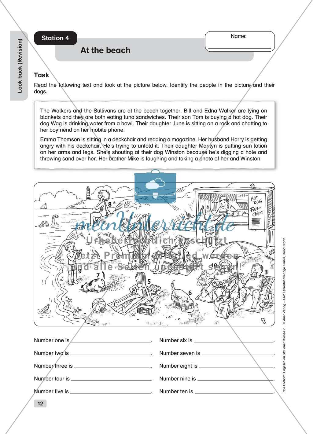 At The Beach Revision Worksheet And Solution