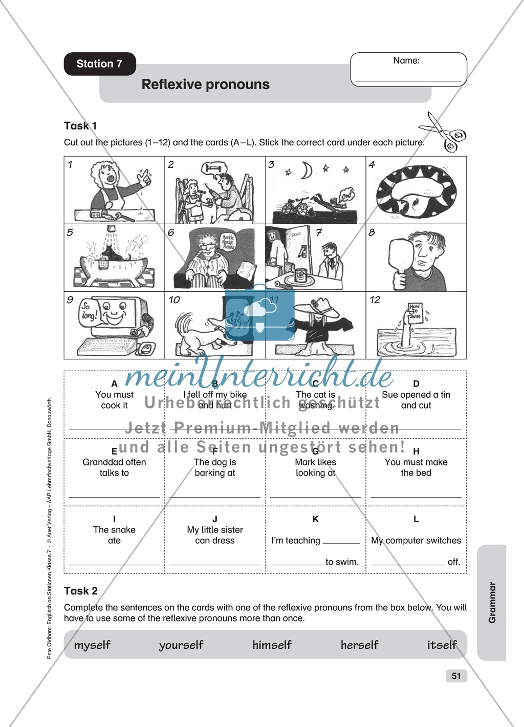 Grammar Reflexive Pronouns Worksheet And Solution