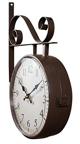Orologio bifacciale da parete tipo stazione in ferro battuto finitura marrone scuro anticato L42XPR8,5xH32 cm - 3
