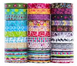 Set di nastri Rolls Washi - 24 rotoli 8 mm di larghezza, nastro adesivo decorativo per fai da te artigianale Scrapbooking confezione regalo - 1