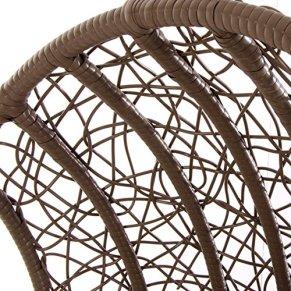 VERDELOOK Poltrona pensile in Rattan con Morbido Cuscino Beige. Misura 105x105x h186 cm - 1