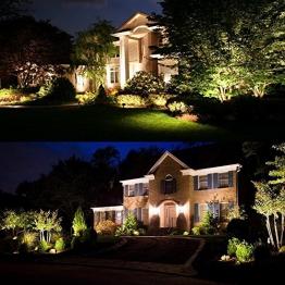 Zuckeo, luci da giardino a LED da 5 W, COB, faretto da esterni, 12 V 24 V, luce decorativa bianca calda per giardino, cortile, vialetto, confezione da 6 pezzi - 1