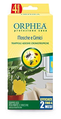 Orphea Insetticida, Trappole Adesive Cromotropiche Senza Veleno. Azione Naturale e Inodore Contro Mosche, Cimici e Parassiti delle Piante, 4 Trappole - 1