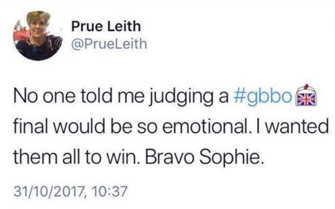 Prue Leith Spoils Bake Off