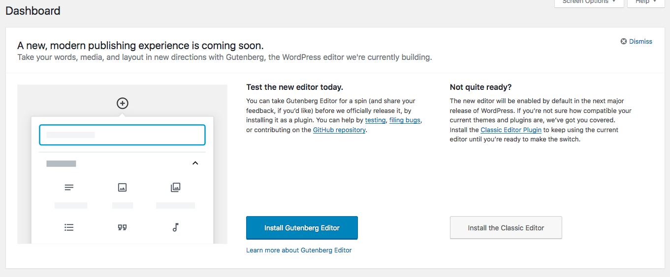 Gutenberg Notice WordPress