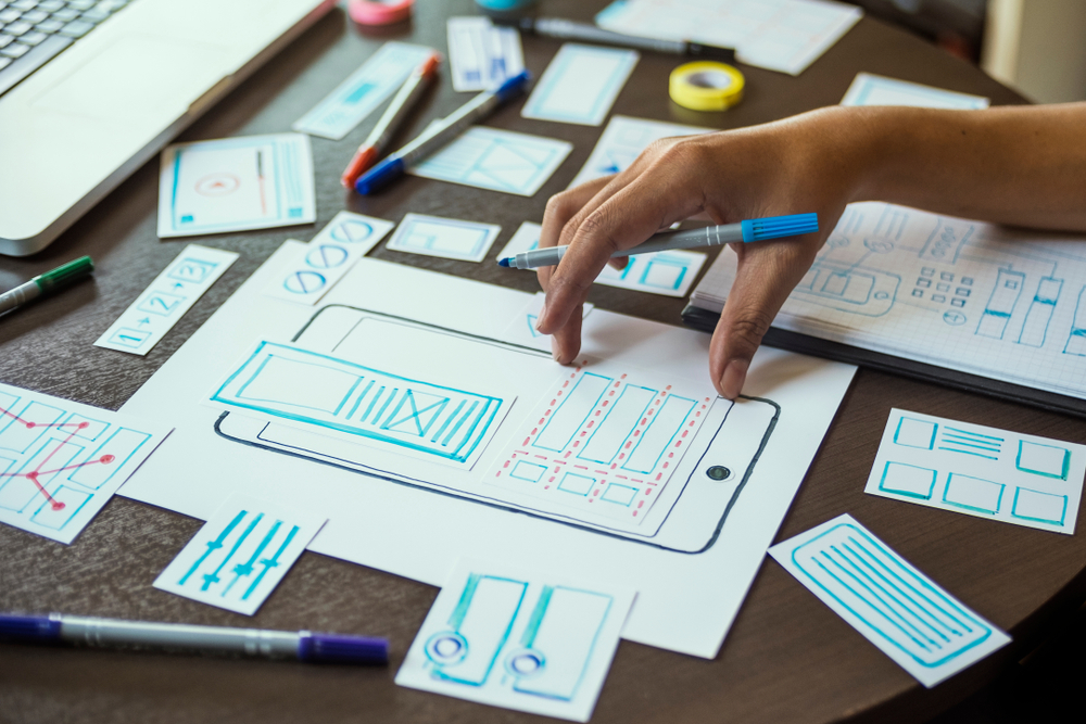 Wireframe on mobile device