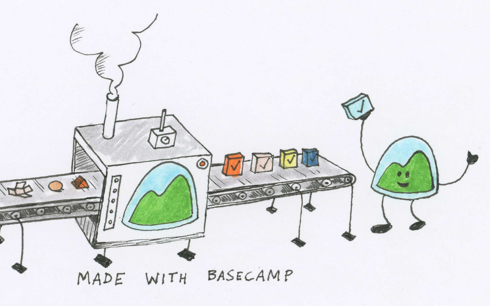 "Basecamp ""Happy Camper"" Illustration"