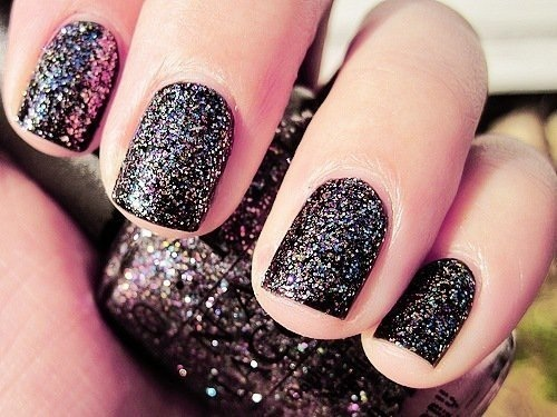 Black Design Glitter Nail Art Polish Varnish Nails