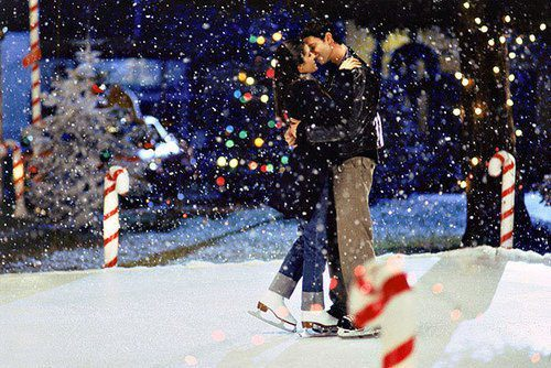 boy, christmas, couple, girl, ice skating
