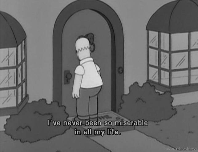 b&w, black and white, depressed, depression, homer simpson