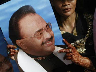 A poster of Altaf Hussain, leader of the MQM. AP